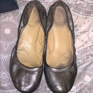 Cole Haan silver leather flats